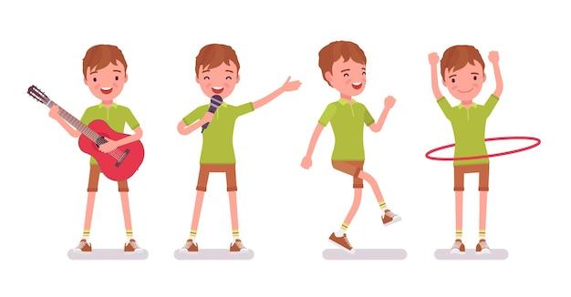 Junge kind 7 bis 9 jahre alt, männliche kinderunterhaltung im schulpflichtigen alter