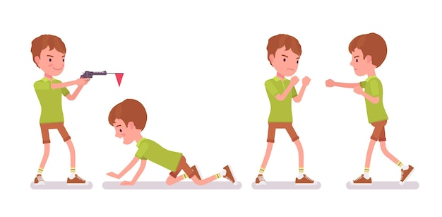 Junge kind 7 bis 9 jahre alt, männlicher kinderspaß im schulpflichtigen alter