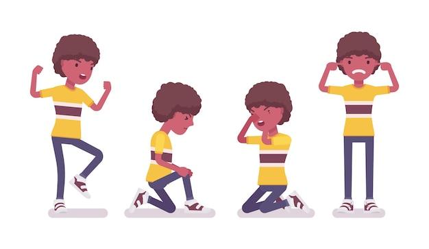 Junge kind 7 bis 9 jahre alt, negatives schwarzes männliches kind im schulalter