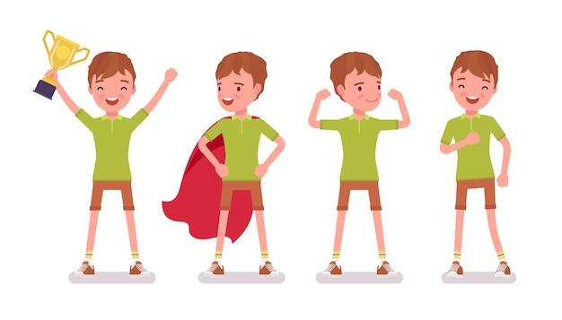 Junge kind 7 bis 9 jahre alt, positives männliches kind im schulalter