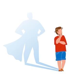 Junge kind träumt, tapferer superheld-vektor zu bleiben. netter kleiner kinderkerl, der träumt, mutiges superkind zu werden. preteen charakter superheld, kindheitstraum flache cartoon illustration