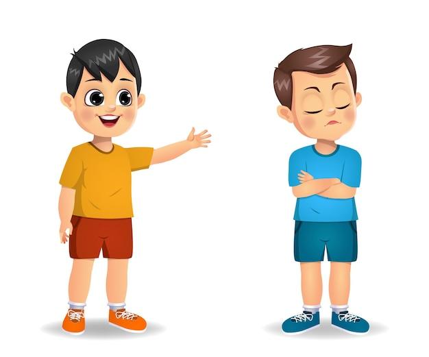 Junge kind wird wütend auf ihre freundin