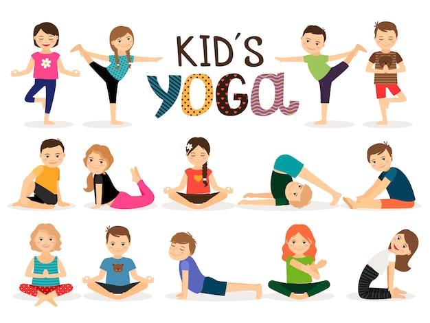Junge kinder in verschiedenen yogahaltungen