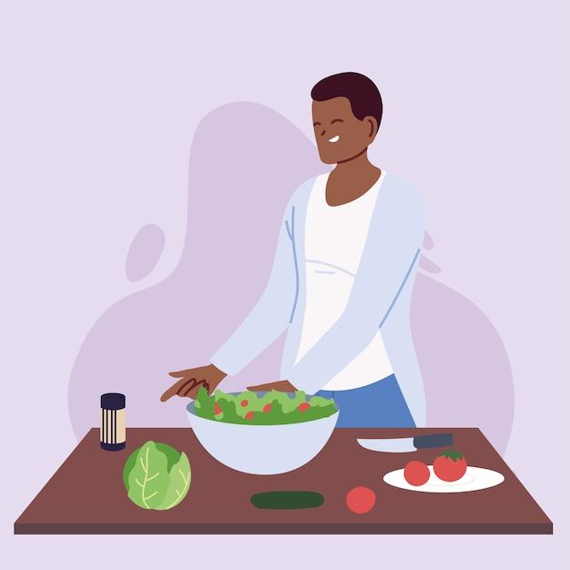 Junge koch, die gesundes lebensmittelillustrationsdesign vorbereitet