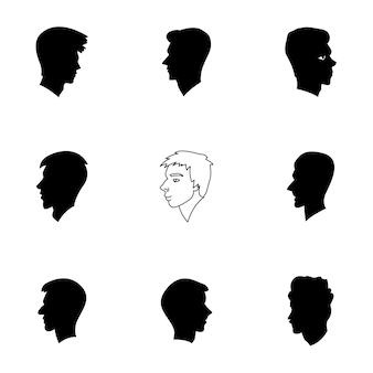 Junge kopf vektor-set. einfache abbildung der kopfform für jungen, bearbeitbare elemente, kann im logo-design verwendet werden