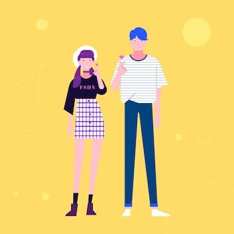 Junge koreaner, die fingerherz tun