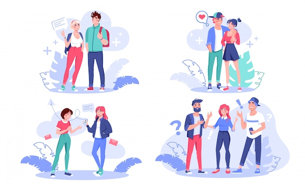 Junge kreative moderne leute, mitarbeiter, liebende freundin freund, teenager freund, student sprechen kommunikationssatz. digitale technologie für mann-frau-kommunikation, freundschaftskonzept