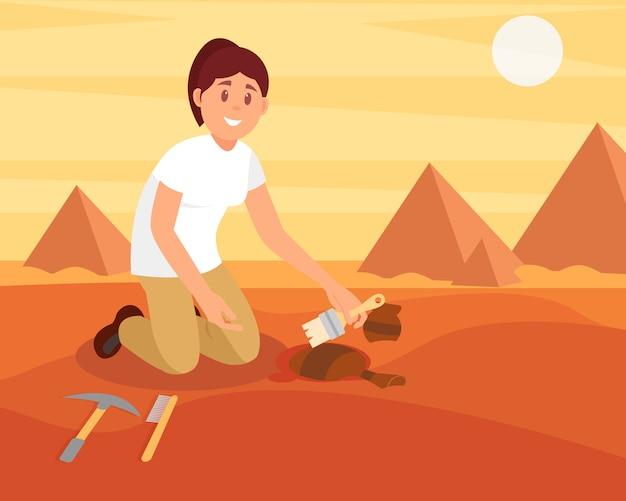 Junge lächelnde frau, die schmutz vom alten keramikkrug fegt. archäologe arbeitet an ausgrabungen in der ägyptischen sandwüste. flaches design