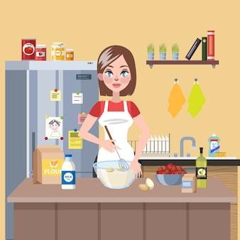 Junge lächelnde hausfrau, die kuchen in der küche mit mehl, milch und eiern kocht. leckeres hausgemachtes abendessen. illustration