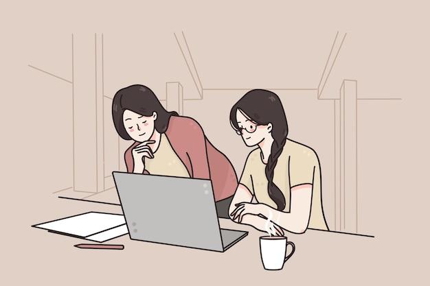Junge lächelnde weibliche büroangestellte partner-zeichentrickfiguren, die projektdetails diskutieren