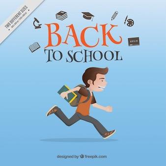 Junge läuft in die schule zu gehen, hintergrund