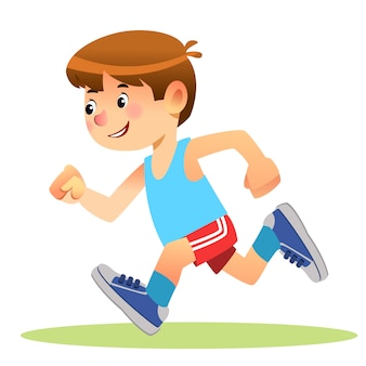 Junge läuft in sportbekleidung