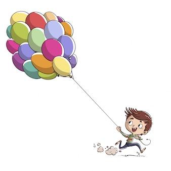 Junge läuft mit ballons