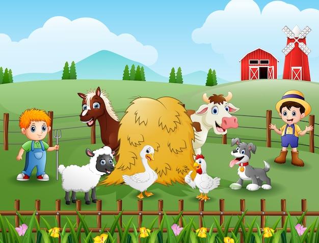 Junge landwirte, die die tiere in der farm halten