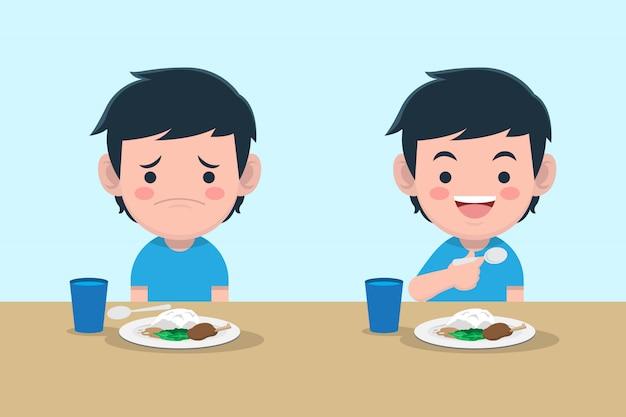 Junge langweilig und glücklich mit essen premium