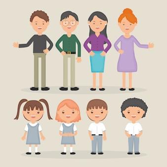 Junge lehrergruppe mit schülercharakter