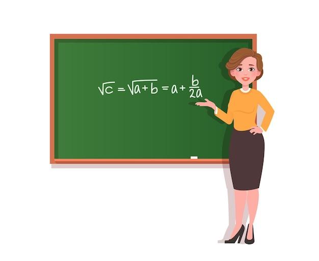 Junge lehrerin an der tafel mit einer mathematischen formel