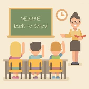 Junge lehrerin mit schülern im unterricht. kinder, die hände anheben. willkommen zurück in der schule