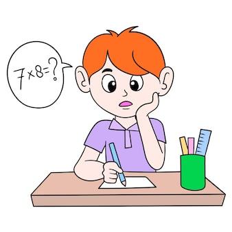 Junge lernt multiplikationsmathematik, vektorillustrationskunst. doodle symbolbild kawaii.