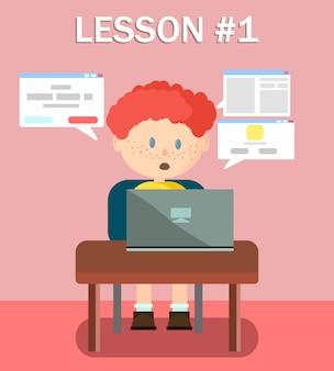 Junge lernt online auf dem laptop, der informationen liest.
