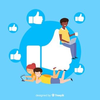 Junge leute auf social media-hintergrund