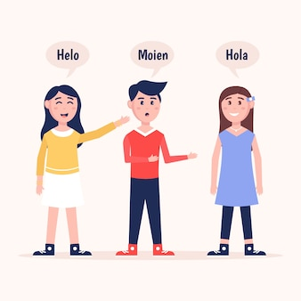 Junge leute der illustrationen, die in der sammlung der verschiedenen sprachen sprechen