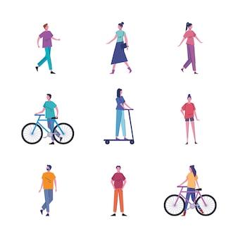 Junge leute, die aktivitäten avatare zeichen illustration üben