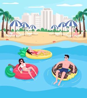 Junge leute, die am strand flache farbe entspannen. menschen schwimmen auf luftmatratzen. donutförmiger schwimmer. sommerferien 2d-zeichentrickfiguren mit stadtbild auf hintergrund