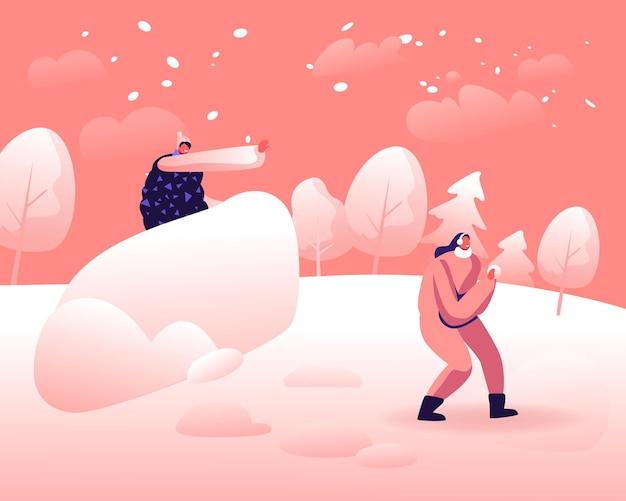 Junge leute, die draußen auf schneebedecktem landschaftshintergrund täuschen und spielen. karikatur flache illustration