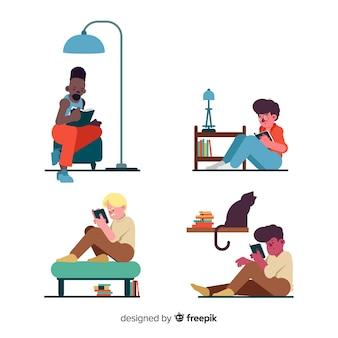 Junge leute, die eine büchersammlung lesen