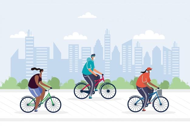 Junge leute, die fahrrad tragen medizinische masken auf der stadtillustration