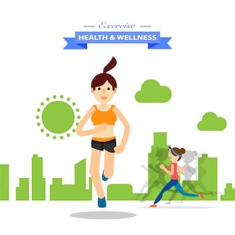 Junge leute, die für marathonsport laufen und ausbilden