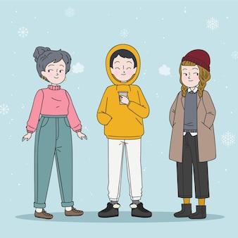 Junge leute, die gemütliche kleidung für den winter tragen