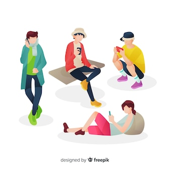 Junge leute, die ihre smartphones betrachten
