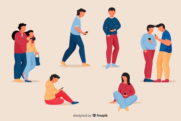 Junge leute, die ihren smartphonesatz halten