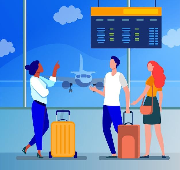 Junge leute, die im flughafen auf flugzeug warten. flug-, flugzeug-, gepäckflachvektorillustration. reisen, reisen und urlaub