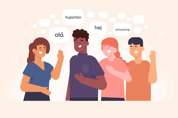 Junge leute, die im illustrationssatz der verschiedenen sprachen sprechen