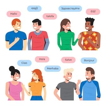 Junge leute, die im unterschiedlichen sprachensatz sprechen