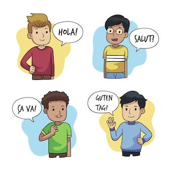 Junge leute, die in den verschiedenen sprachillustrationen eingestellt sprechen