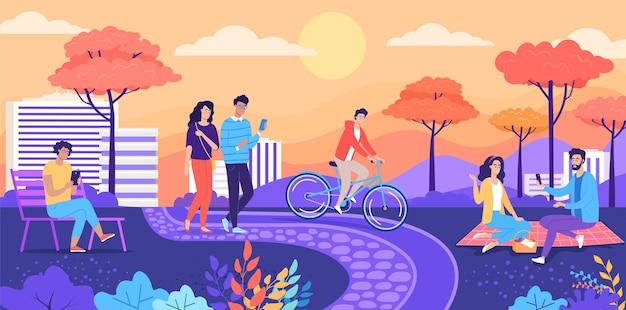 Junge leute, die in der bunten vektorillustration des herbststadtparks spazieren gehen