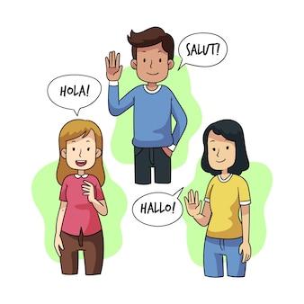 Junge leute, die in der illustrationsgruppe der verschiedenen sprachen sprechen
