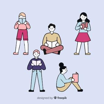 Junge leute, die in der koreanischen zeichnungsart lesen