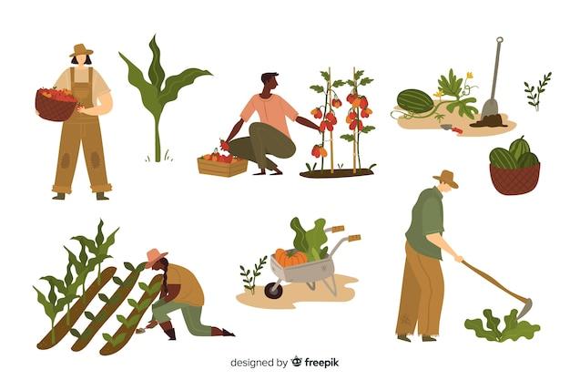 Junge leute, die in der landwirtschaft arbeiten