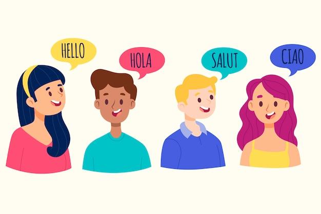 Junge leute, die in der sammlung der verschiedenen sprachen sprechen