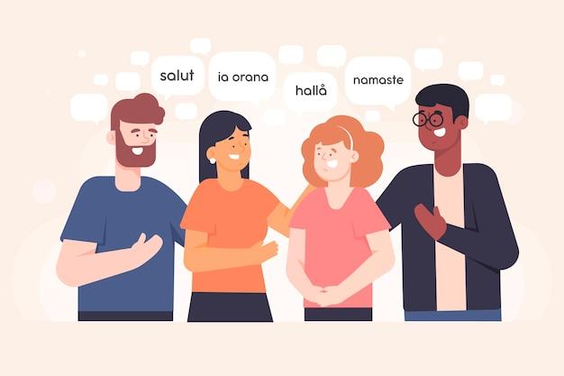 Junge leute, die in der verschiedenen sprachillustrationssammlung sprechen