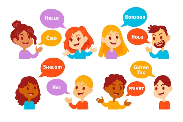 Junge leute, die in verschiedenen sprachen sprechen