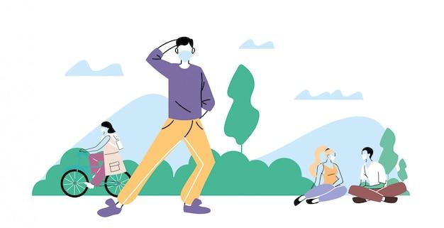 Junge leute, die körperliche aktivität im freien am park tun