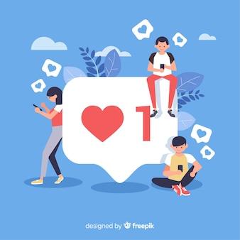 Junge leute, die likes in den sozialen medien suchen