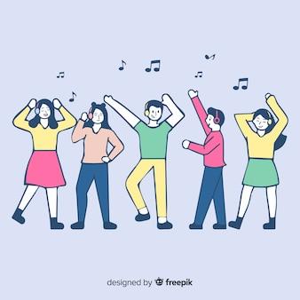 Junge leute, die musik in der koreanischen zeichnungsart hören