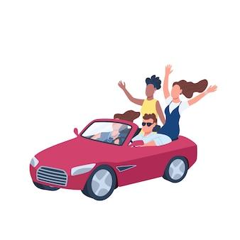 Junge leute, die rotes cabrioauto flache farbe gesichtslosen charakter fahren. mann im auto von frauen umgeben. abhängen. isolierte karikaturillustration für webgrafikdesign und -animation